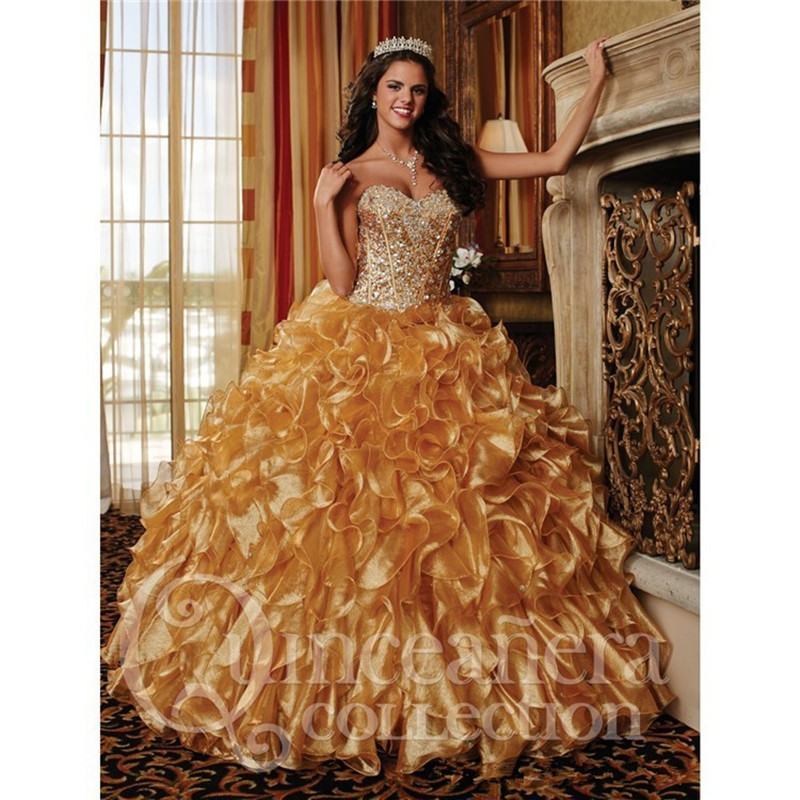 2015 Luxury Gold Organza Ruffles Quinceanera Dresses Sweetheart ...