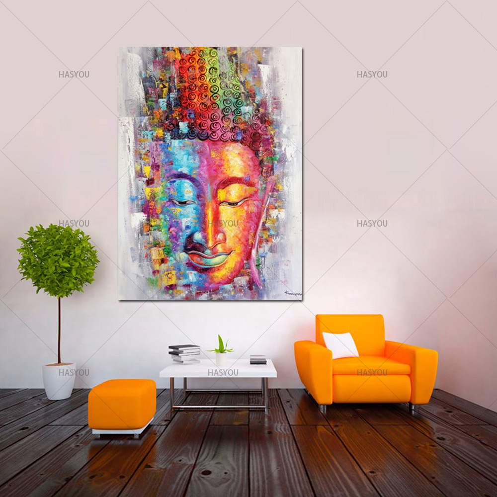 Leinwandbild Buddha Us 47 94 49 Off Big Size 100 Handmade High Quality Buddha Oil Painting On Canvas Colorful Buddha Canvas Art Painting For Living Room Hotel Gift In