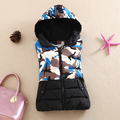 Outono inverno quente nova camuflagem colete fino de algodão com capuz colete colete de moda feminina vestidos