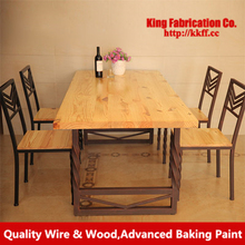 Iron retro creative cafe wood dinning table and Chair combination sets can be customized