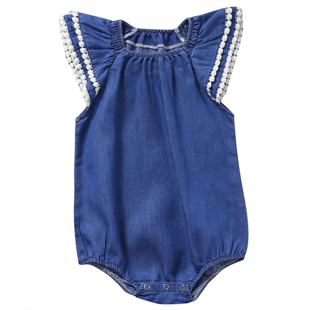 7fe152dbea 2018 New Cute Newborn Baby Girl Romper Fly Sleeve Denim Clothes Cute Bebes  Summer Outfit Sunsuit
