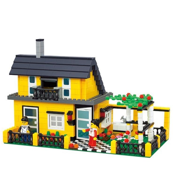 Model building kits compatible with lego city villa house 3D blocks Educational model building toys hobbies for children