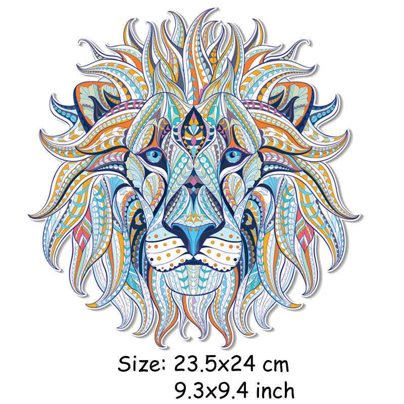 Diy ferro-em transferência roupas remendos legal 3d leão rei adesivos para topos camiseta decoração do agregado familiar appliqued para tote cortina