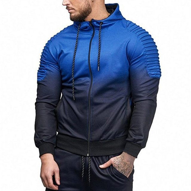 HEFLASHOR New High Quality 3D Stripe Zipper Jacket Male Autumn Spring Streetwear Mens Gradient Ramp Fitted Men Coats M-3XL