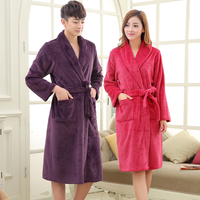 3d557142bc Women Men Warm Coral Fleece Long Bathrobe Soft Flannel Nightgowns  Bridesmaid Kimono Bath Robes Peignoir Dressing Gown Sleepwear