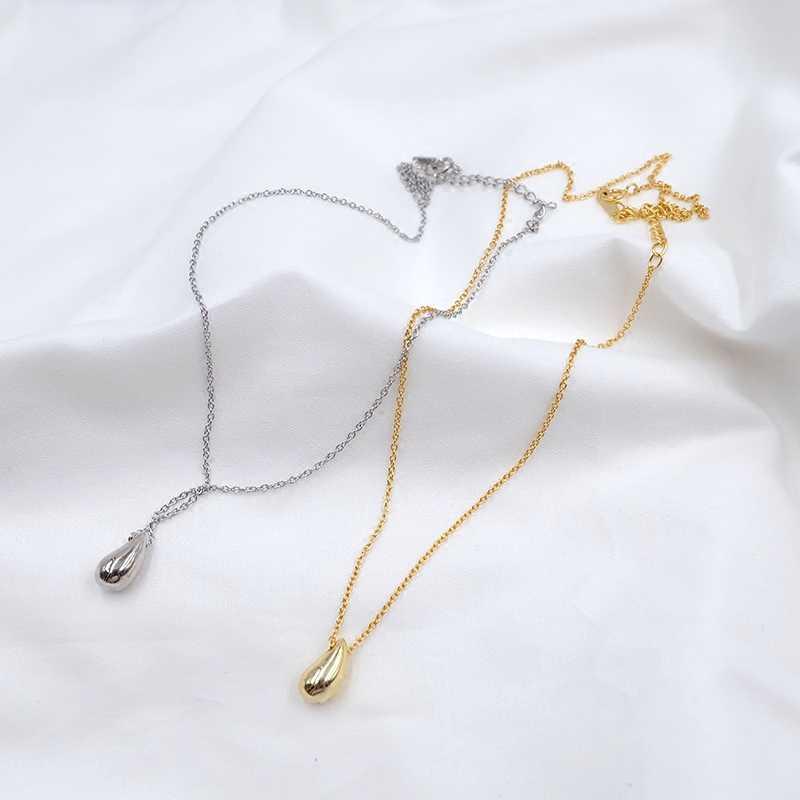 F.I.N.S простое 925 пробы Серебряное гладкое каплевидное ожерелье с подвеской, индивидуальное Короткое серебряное ожерелье 925 ювелирные изделия корейская мода