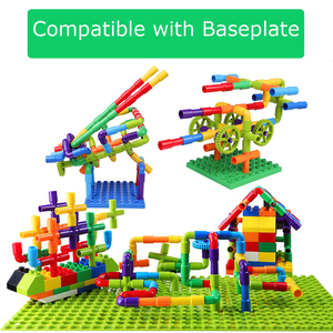Image 3 - Creativity Pipe Building Blocks Assembling Toy for Children Educational Tunnel Block Model Bricks