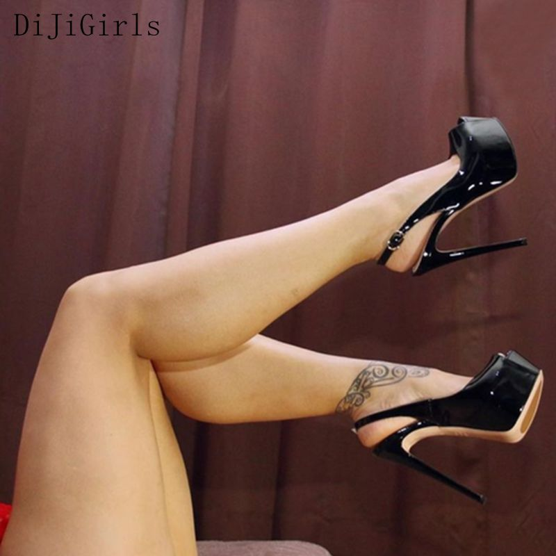 DiJiGirls Sexy Pumps Wedding Women Fetish Shoes 16 CM High Heels Peep Toe Platform Patent Leather Nighclub Shoes Women Pumps