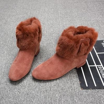 2018 winter new matte leather plus velvet flat boots women rabbit fur boots wild winter boots tide2018 winter new matte leather plus velvet flat boots women rabbit fur boots wild winter boots tide
