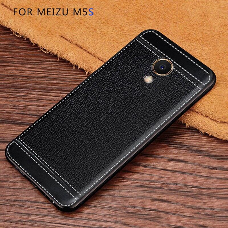 Litchi mönster cortex silikonfodral för Meizu M5s lychee läder - Reservdelar och tillbehör för mobiltelefoner - Foto 5
