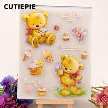 Happy Bee Bear Cake Transparent Silicone Clear Stamps DIY Seal for Scrapbooking Photo Album Embossing Folder Card Decor Template