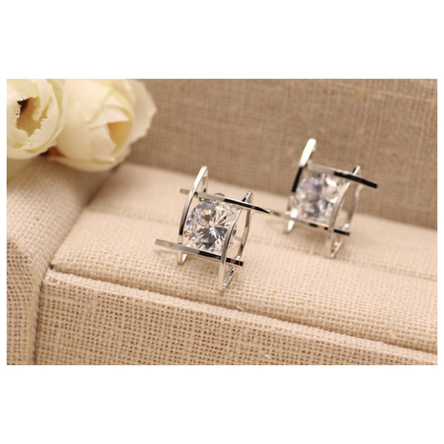 Rhinestone Crystals Square Earrings