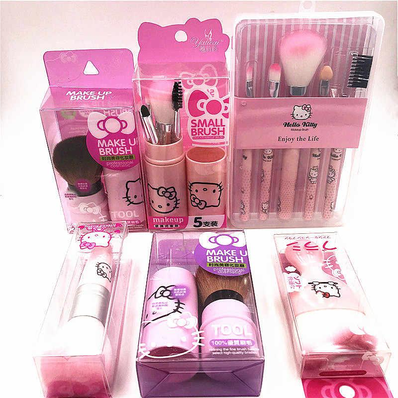 0e5c57026 Girls Cute Hello Kitty Makeup Brushes Set Pink Box Make up Brush Set  cosmetics kit de