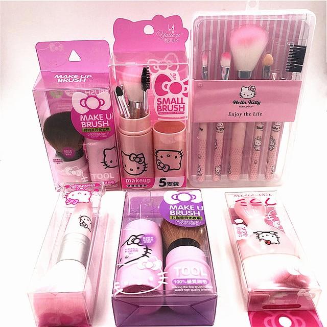 Us 1 02 30 Off Girls Cute Hello Kitty Makeup Brushes Set Pink Box Make Up Brush Set Cosmetics Kit De Pinceis De Makeup Tools Maquiagem Gift In Eye