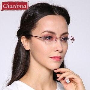 Image 4 - Брендовые очки Chashma, очки без оправы с алмазной отделкой, титановые модные женские очки