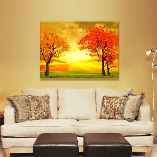 Modern Living Room Gold Fall Decorative Picture Wall Decor Frameless  Painting On Canvas Landscape Mural Large