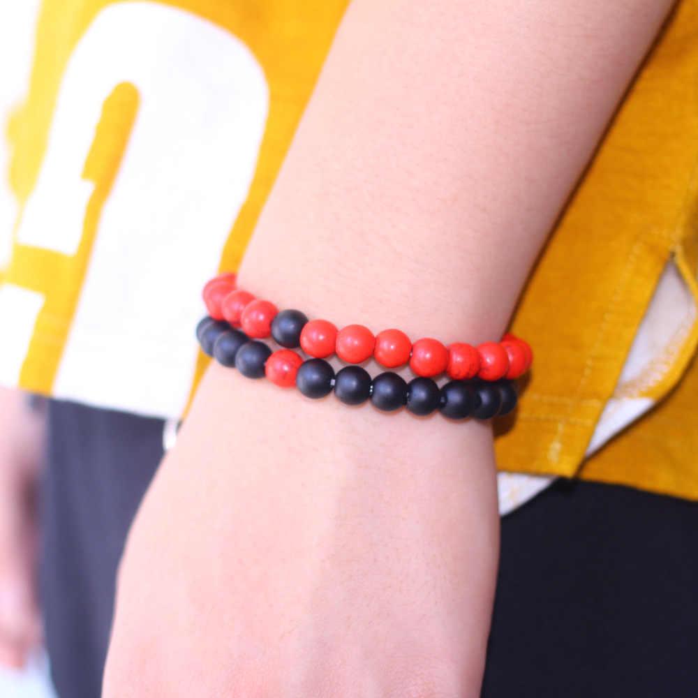 Простой европейский стиль, модные мужские и женские браслеты со вставками из натурального камня, красный сосновый камень, матовая комбинация, Ретро браслеты для пары