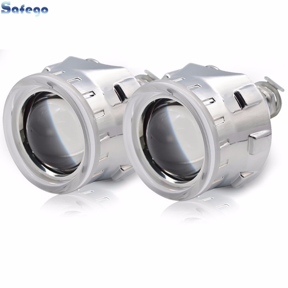 Safego H1 H7 H4 Mini 2 5 inch bixenon projector lenses mask shroud double angel eyes