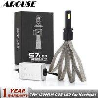 AROUSE 2pcs S7 H1 H4 H7 H11 Car LED Headlight Braid Radiating 70W 12000LM COB Auto Headlamp Bulbs H3 H13 9004 HB3 Car Fog Lights