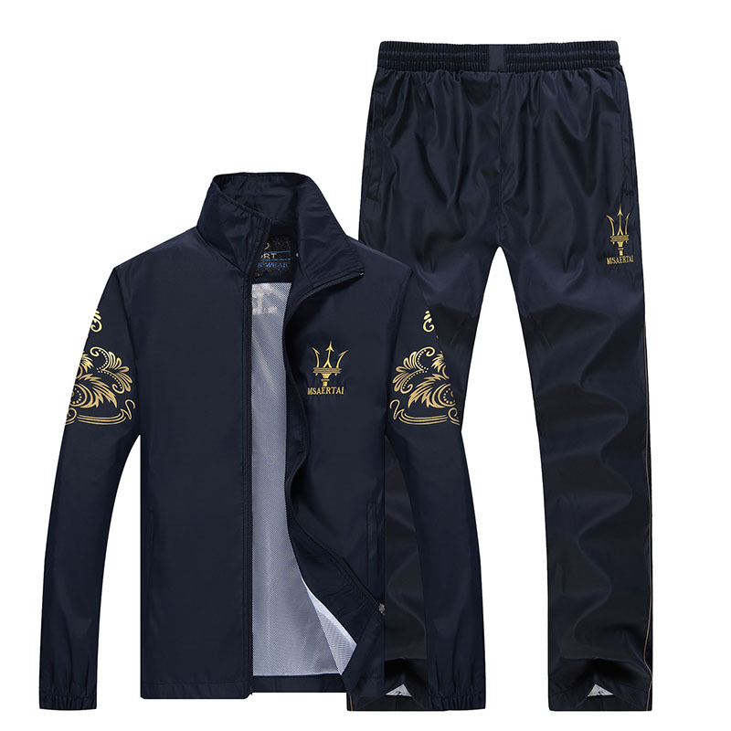 Spring and Autumn brand sports suit men spring and autumn outdoor casual sportswear middle aged sportswear