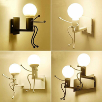 Modern LED Wall Lamp Creative Mounted Iron Sconce Wall Light for Kids Baby Bedroom Corridor Wall Light