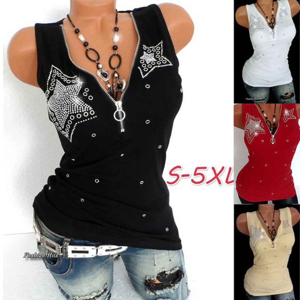 Women Ladies Hot Drill Zipper Sleeveless Vest   Tank   Blouse Pullover   Tops   Shirt Women's five-pointed star hot drilling sequin   top