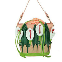 Fashion Women Small Fresh Lily Bag Of Garden Wind Shoulder Bags Beatiful Flowers Messenger Bags Apricot And Pink Handbag