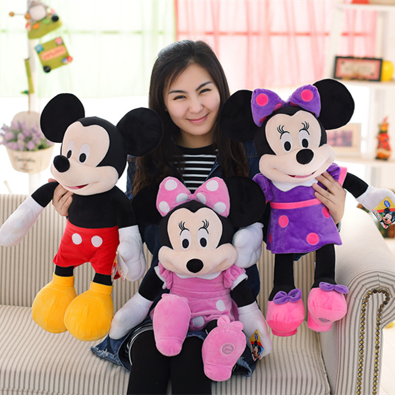 Miaoowa New 60CM Mickey or Minnie Mouse Plush Toy Doll for Kids Baby Christmas Gift Cute Animal Cartoon Birthday Gift for Girls stuffed animal 120 cm cute love rabbit plush toy pink or purple floral love rabbit soft doll gift w2226