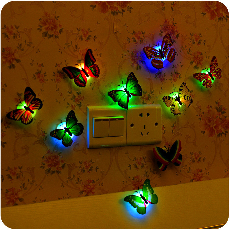 Mrosaa 1 Pcs Beautiful Butterfly Wall Stickers LED Night Light Lamp With Suction Christmas Wedding Home Decor sticky note