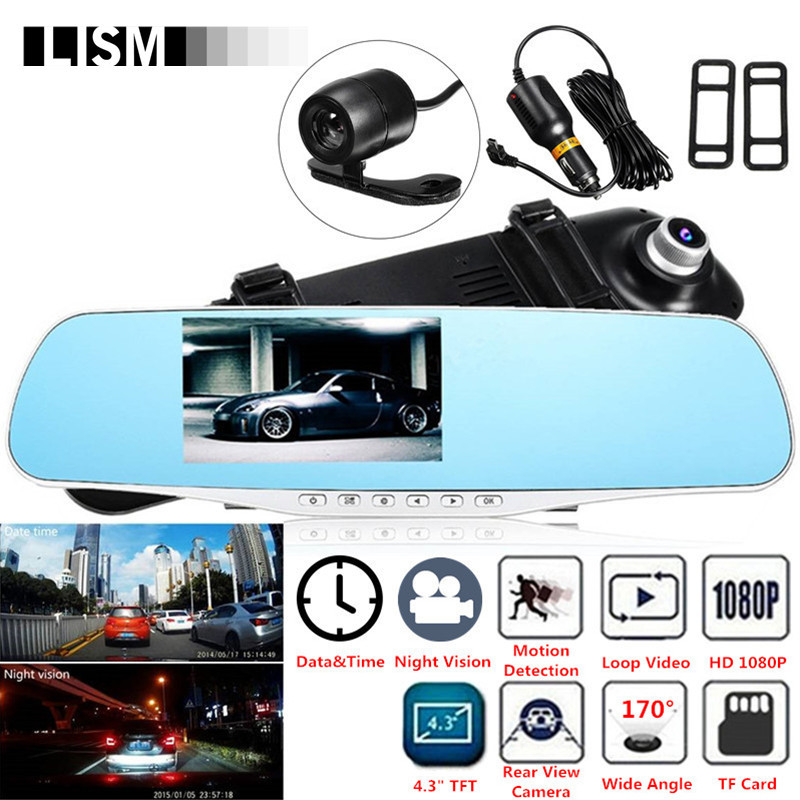 170Degree 1080P HD Car DVR Wide Vision Front Rear View Camera DVRs Car Mirror Smart Dash Camera Dashcam Cam RearView Mirror Kit-in Interior Mirrors from Automobiles & Motorcycles    1