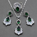 Wonderful Green Zircon White Crystal 925 Sterling Silver Women Wedding Jewelry Set Ring Size 6/7/8/9/10 Free Gift  Box T299