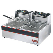 Electric fryer Twin-tanks frying oven_stainless steel deep fryer 6lliters*2 220v50hz 5000w