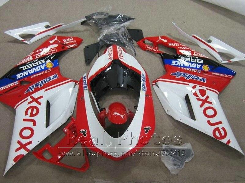 Moto ABS en plastique carénages pour Ducati 848 1098 07 08 09 10 11 blanc rouge noir carénage kit 848 1198 2007-2011 DY97