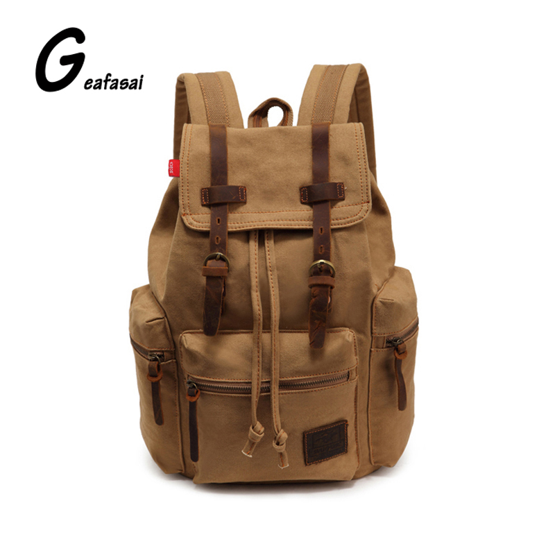 709c90b5a0 New brand Khaki muddy yellow black large capacity casual teenagers student men  Vintage travel bivouac encamp Canvas bag backpack