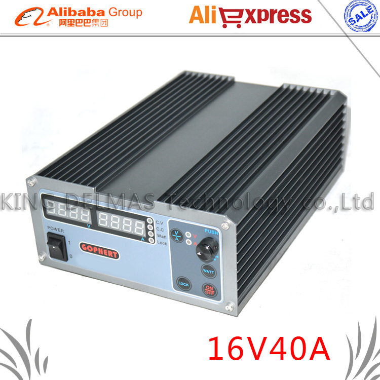 New upgrade Compact Digital Adjustable DC Power Supply OVP/OCP/OTP MCU Active PFC 16V40A 170V-264V + EU + Cable cps 6003 60v 3a dc high precision compact digital adjustable switching power supply ovp ocp otp low power 110v 220v
