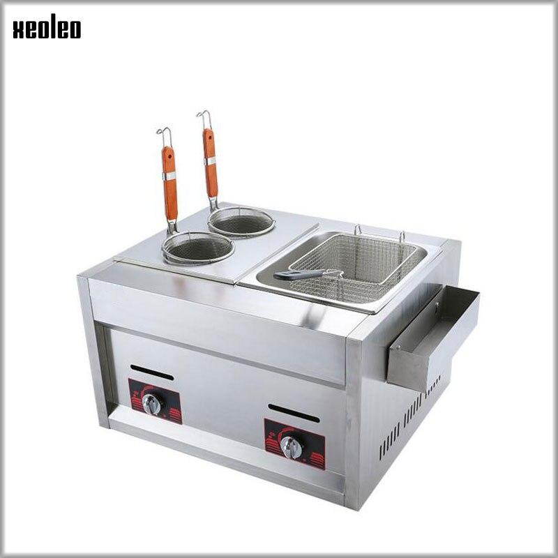 XEOLEO двухв 1 комбинированная печь коммерческий сжиженный газ фритюрница пряный горшок струна ароматного закуски оборудование жареная лапша