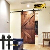 12 16FT Modern Interior Doors Domestic Sliding Barn Wood Door Hardware Steel Country Style Black Barn