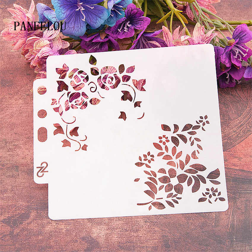 Cinese rosa scrapbook stencil spray muffa di plastica shield FAI DA TE torta hollow Abbellimento stampa pizzo righello di san valentino
