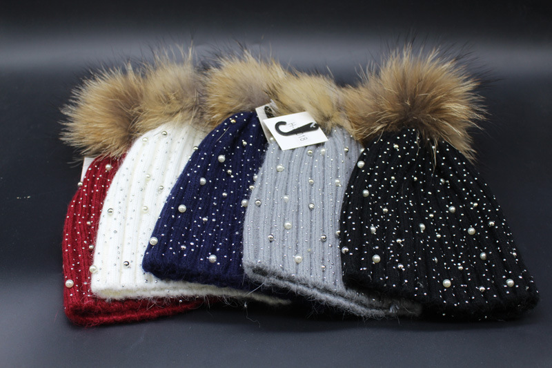 5060eb1ba super cute crystal inlay pearl delicate knitted pom pom hat genuine raccoon  fur warm knitted pom pom fur beanies multicolors-in Skullies & Beanies ...