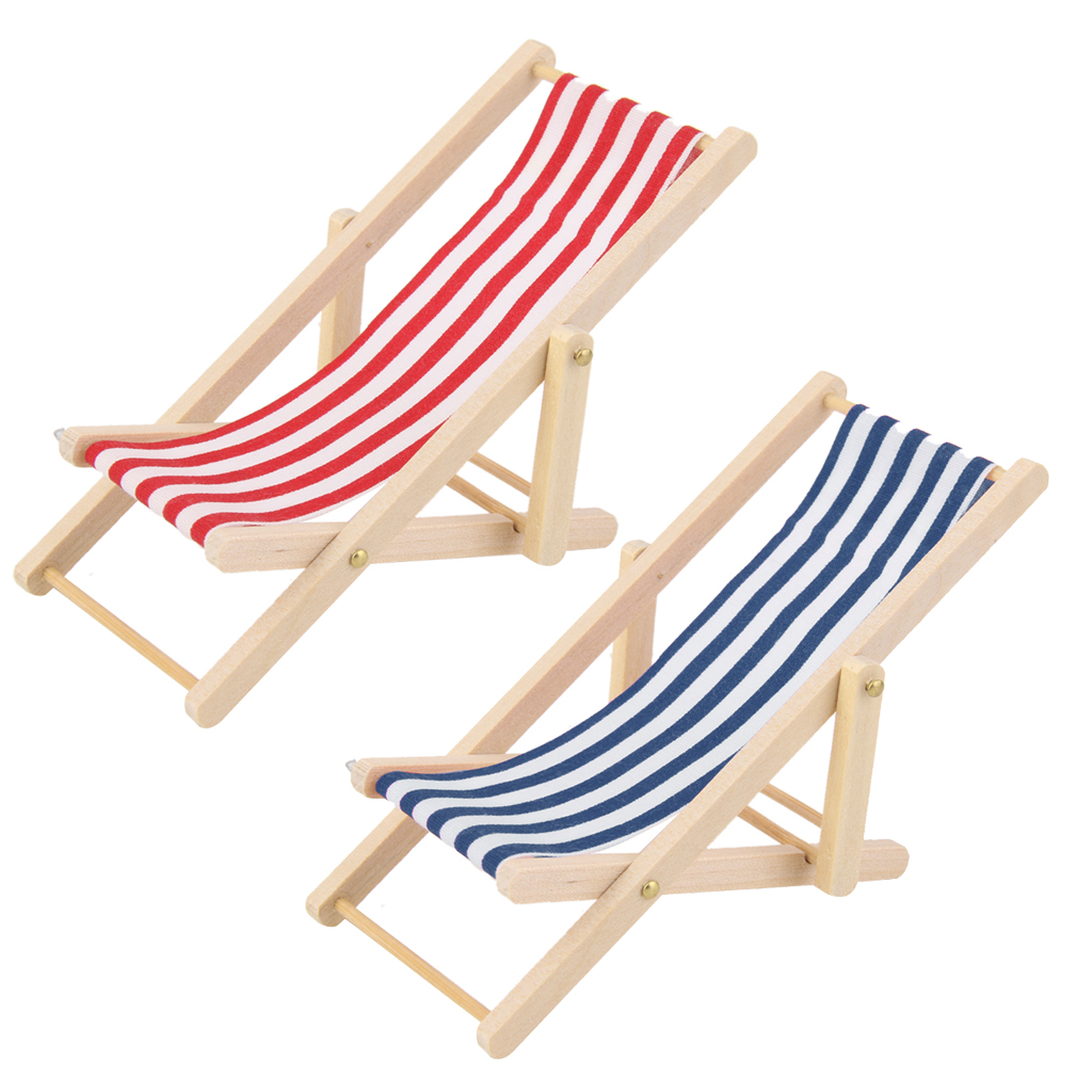 Wood lounge chairs qty 4 striped fabric with adjustable heights - High Quality 1 12 Dollhouse Miniature Furniture Wooden Lounge Chair Blue White Stripe Pretend Play Baby Toy For Children Kids