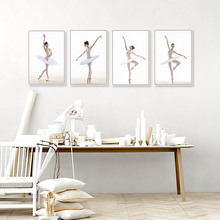 Modern Ballet Dancer Poster White Pose Print Canvas Painting Picture Home Living Room Aisle Wall Art Decoration Custom