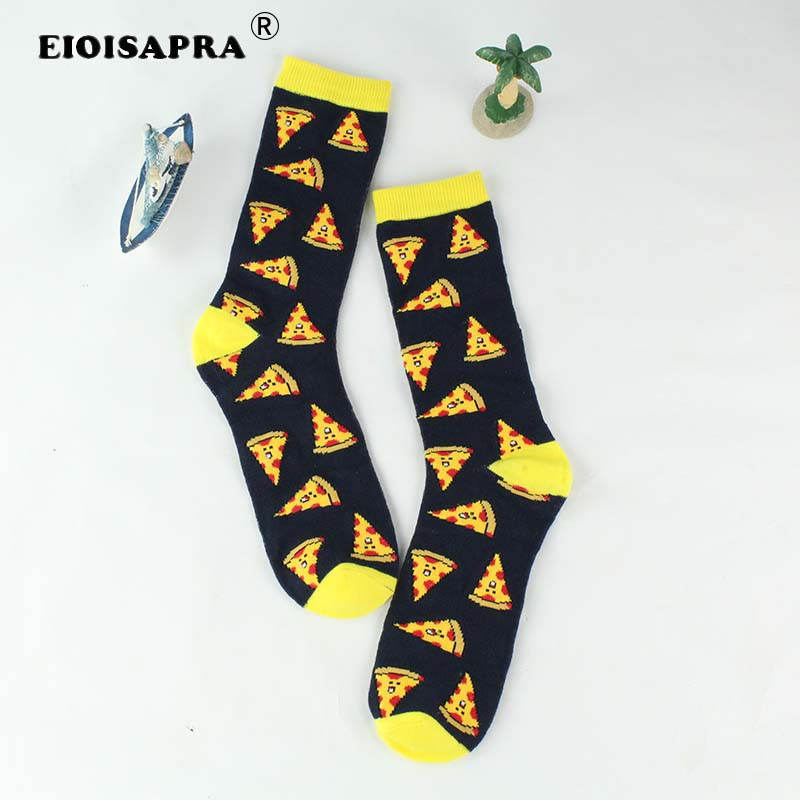 [EIOISAPRA]Cartoon Pizza Harajuku   Socks   Japanese Sushi Hip Hop Yellow Funny   Socks   Women Creative Lovely Sokken Calcetines Mujer