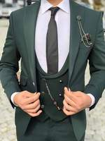 Последний дизайн пальто брюки зеленый костюм на заказ формальный пиджак в деловом стиле джентльмен портной Slim Fit Свадебный костюм смокинг 3