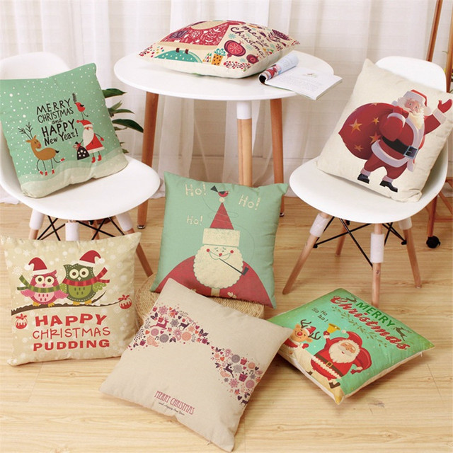 1pcs 45x45cm pillow case merry christmas decorations for home cartoon elk owl linen decorative pillows cover - Christmas Decorative Pillows