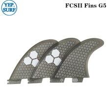 Surfboard FCS2 G5 fins Gray color Honeycomb Fibreglass FCSII fin Tri set
