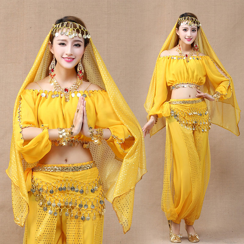 4 Pieces 6 Colors Adult Women Bollywood Costume Indian Bellydance Costume Oriental Tribal Arabic Egypt Belly Dance Costumes