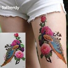 Peacock Peony 3D Temporary Tattoo Body Art Sleeve Arm Flash Tattoos Stickers Fake Henna Shoulder Leg Big HB564