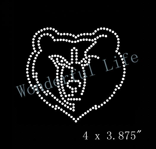 Free shipping tiger head iron on rhinestone transfer love hear with ribbon  for clothing motif design for man-in Rhinestones from Home   Garden on ... cabe76b75ce5