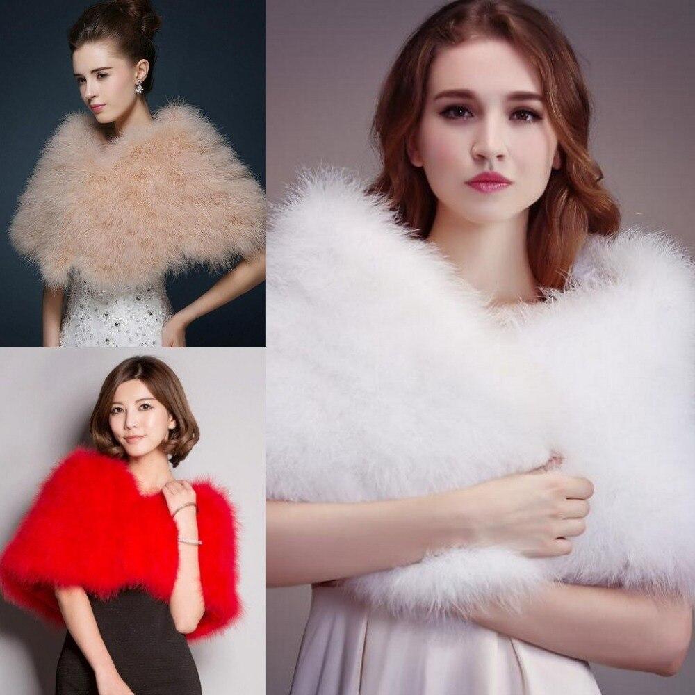 Luxurious Ostrich Feather Bridal Shawl Fur Wraps Marriage Shrug Coat Bride Winter Wedding Party Boleros Jacket Cloak White Khaki