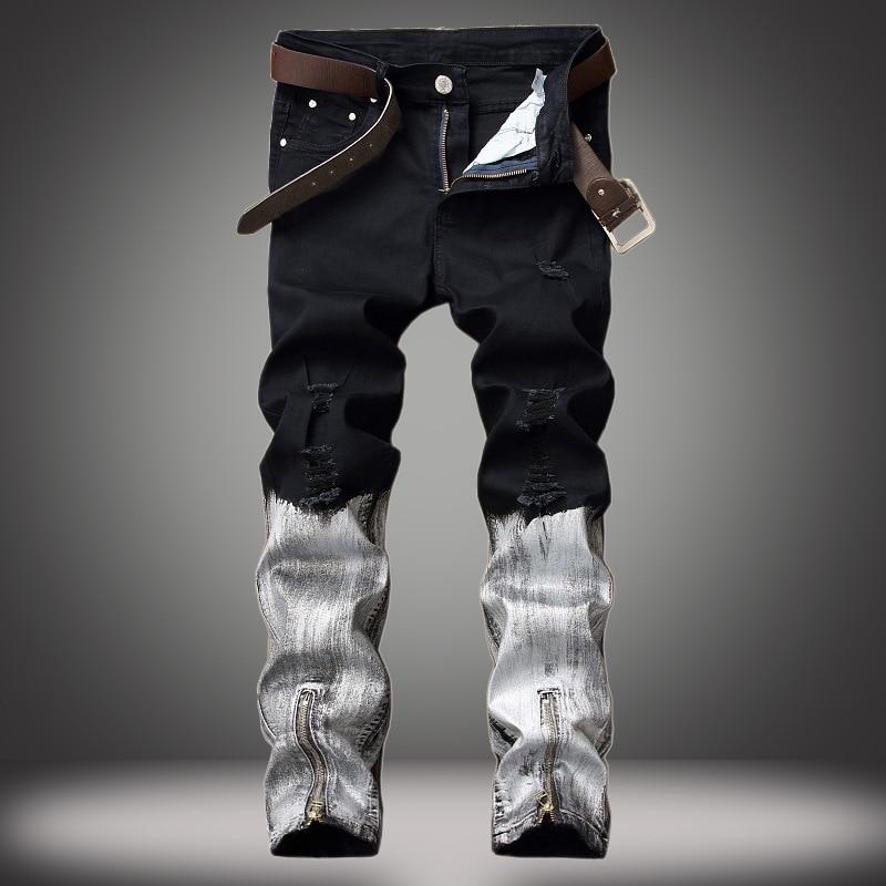 Straight Jeans Men 2018 Fashion Design Rock Style men Jean Black and White Hit Color Jeans Zipper Fly Denim Slim Jeans Plus Size